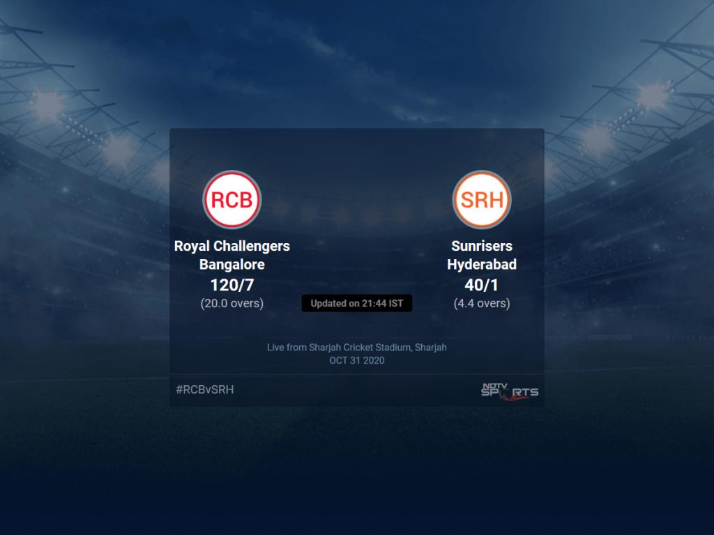 نتایج بازی Royal Challengers Bangalore vs Sunrisers Hyderabad برای Match 52 T20 1 5 Updates